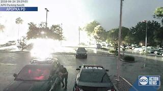 VIDEO: Lightning strike hits close to Florida police department