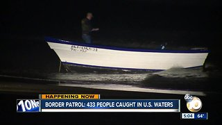 Border Patrol: 433 people caught in U.S. waters - Video
