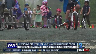 Pre-schoolers pedal to raise funds for Johns Hopkins children