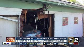 At least 7 people hurt when car drives into restaurant - Video
