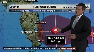 Hurricane Dorian's winds grow to 115 mph, now a Category 3 storm, could hit Florida early Tuesday as Category 4