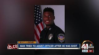 Man tried to assist officer after he was shot - Video