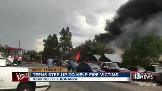 Teen gives school supplies to kids after burned in fire - Video