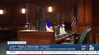 Jury trails resume after months
