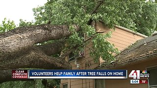 Volunteers help KCK family after Facebook tree-trimmer felled tree onto home