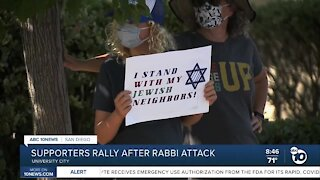 Supporters rally after Rabbi attack