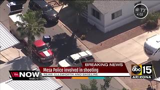 Mesa police involved in shooting with possible homicide suspect - Video