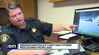 Birmingham police chief and others rescue man from lake - Video
