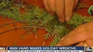 Man hand makes wreaths for Christmas - Video