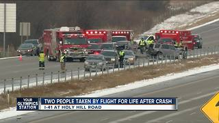 Two people taken by Flight for Life after 1-41 crash - Video