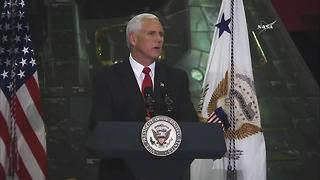 Vice President Mike Pence speaks at Kennedy Space Center