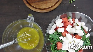 Arugula, Watermelon & Feta Salad w/ Orange Lemon Dressing | MDelicious - Video