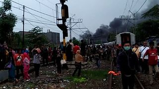 Fire Breaks Out on Jakarta Train After Crash at Level Crossing Kills 2 - Video