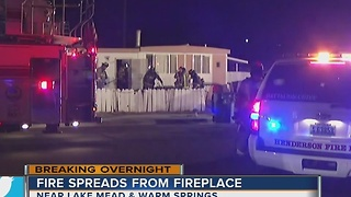 Fire spreads outside fireplace in Henderson home - Video