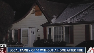 KC house fire displaces family of 10 - Video