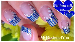 Cute blue and silver French tip nail art - Video