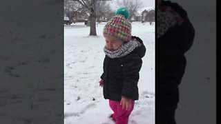 Crying Toddler Not Impressed by Snow - Video