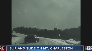 Cars without chains turned around on Mount Charleston - Video