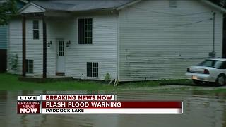 Flash Flood Warning in Paddock Lake - Video