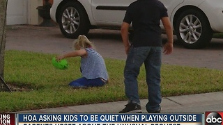 HOA asking kids to be quiet when playing outside - Video