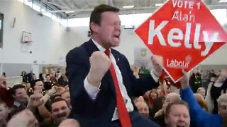 Red-Faced Kelly's Fist-Pumping Reveals Ecstasy at Being Re-Elected - Video
