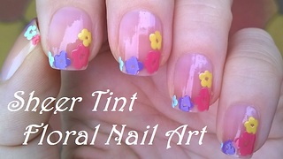Sheer Pink Floral Nail Art Design By Dotting Tool