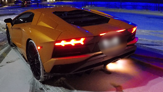 Lamborghini Shoots Spikes Of Flame From Exhaust Pipe - Video