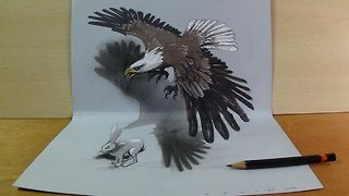 Art in 3D, Drawing a Hunting Eagle, Awesome Animals by Vamos - Video