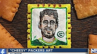 Artist paints Aaron Rodgers portrait on Cheez-It - Video