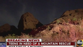 Teens rescued off mountain after getting stuck in Scottsdale - Video