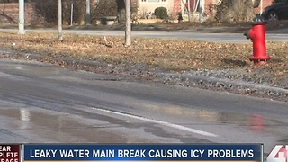 Leaky water main break causing icy problems - Video