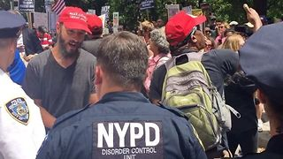 Police Escort Trump Supporters From NYC Impeachment March - Video