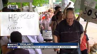 Ypsilanti housing protest by seniors - Video