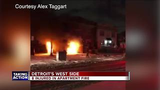 Fire rips through apartment building on Detroit's west side - Video