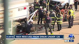 Man Rescued from I25 Storm Drain - Video