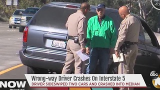 Elderly man drives in wrong direction on Interstate 5 - Video