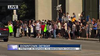 Protest in Downtown Detroit over immigration charges - Video