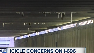 Icicle concerns on I-696 - Video