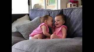 Adorable Identical Twins Sweetly Kiss - Video