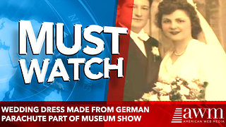 Wedding dress made from German parachute part of museum show