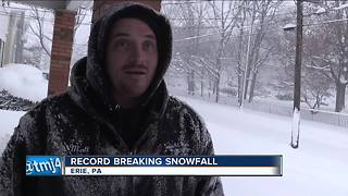 Record breaking snow in Erie, PA - Video