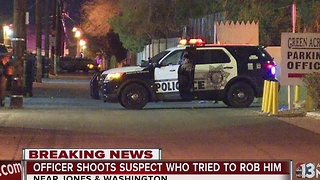 Man shot attempting to rob Las Vegas police officer - Video