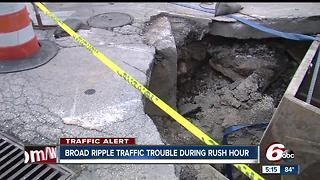 Construction causing traffic in Broad Ripple - Video