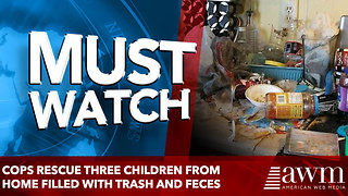 Cops rescue three children from home where trash and feces filled the rooms - Video