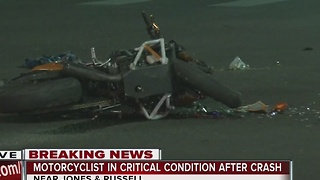 Motorcyclist in critical condition after colliding with Jeep