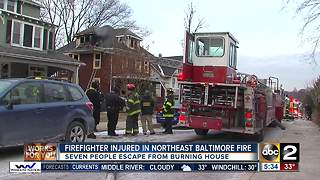 Firefighter injured in Northeast Baltimore fire - Video