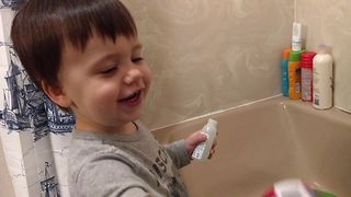 Cute Tot Loves Bathtime Bubbles - Video