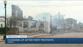 Clean up continues into Kenosha after fiery protests