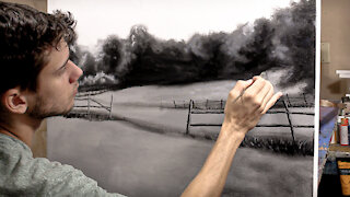 HOW TO PAINT A LANDSCAPE BACKGROUND!! PAINTING TUTORIAL VIDEO!!