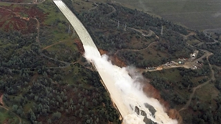 Aerial Footage from Oroville Dam's Spillway - Video